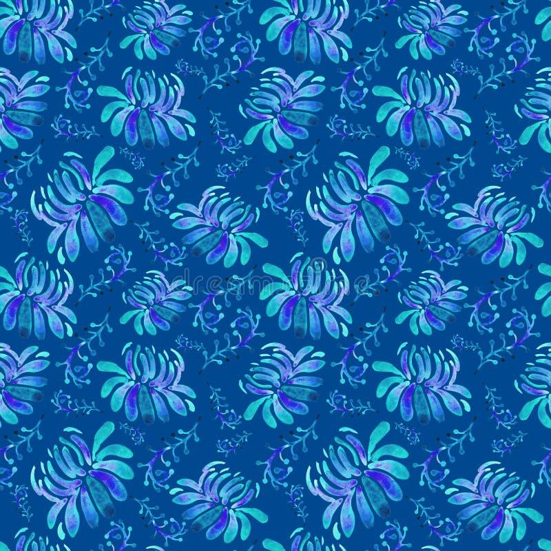 Fondo floreale senza cuciture in acquerello su fondo blu Blu, porpora, struttura nello stile per i tessuti, carta da parati dei b illustrazione vettoriale