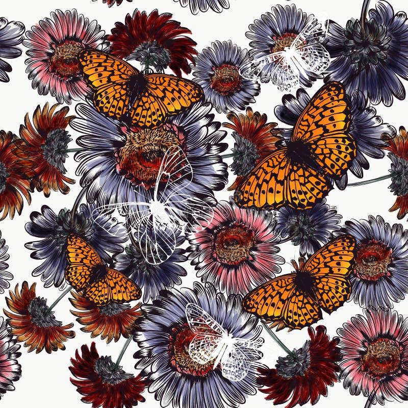 Fondo floreale senza cuciture con i fiori e le farfalle della margherita illustrazione di stock