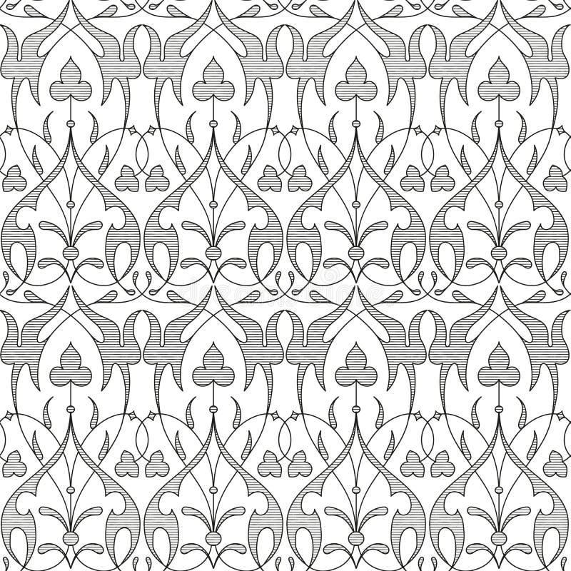 Fondo floreale senza cuciture del nero del modello del damasco royalty illustrazione gratis