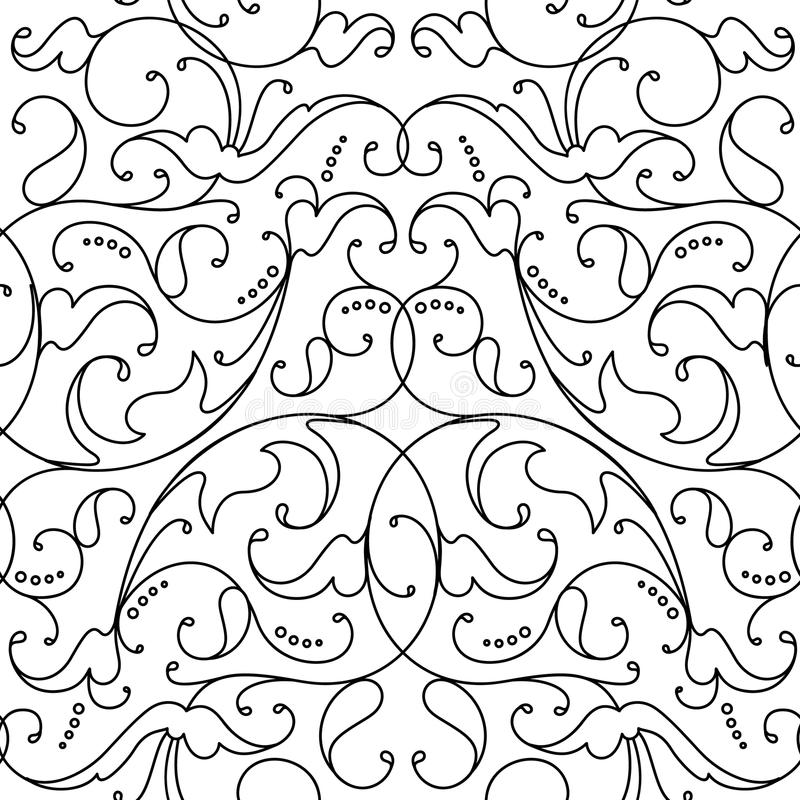 Fondo floreale senza cuciture del nero del modello del damasco illustrazione di stock