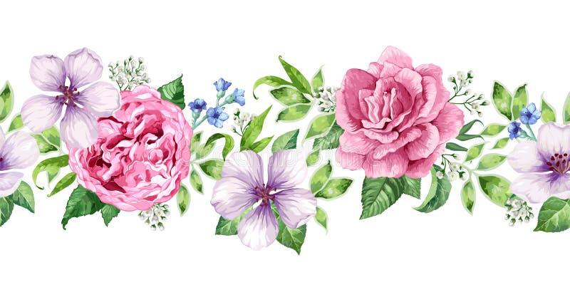 Fondo floreale senza cuciture nello stile dell'acquerello isolato su bianco illustrazione di stock