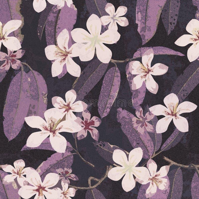 Fondo floreale tropicale del modello del fiore senza cuciture illustrazione di stock