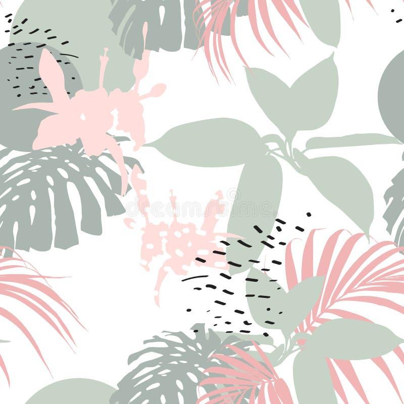 Fondo floreale universale creativo nello stile tropicale Strutture disegnate a mano illustrazione vettoriale