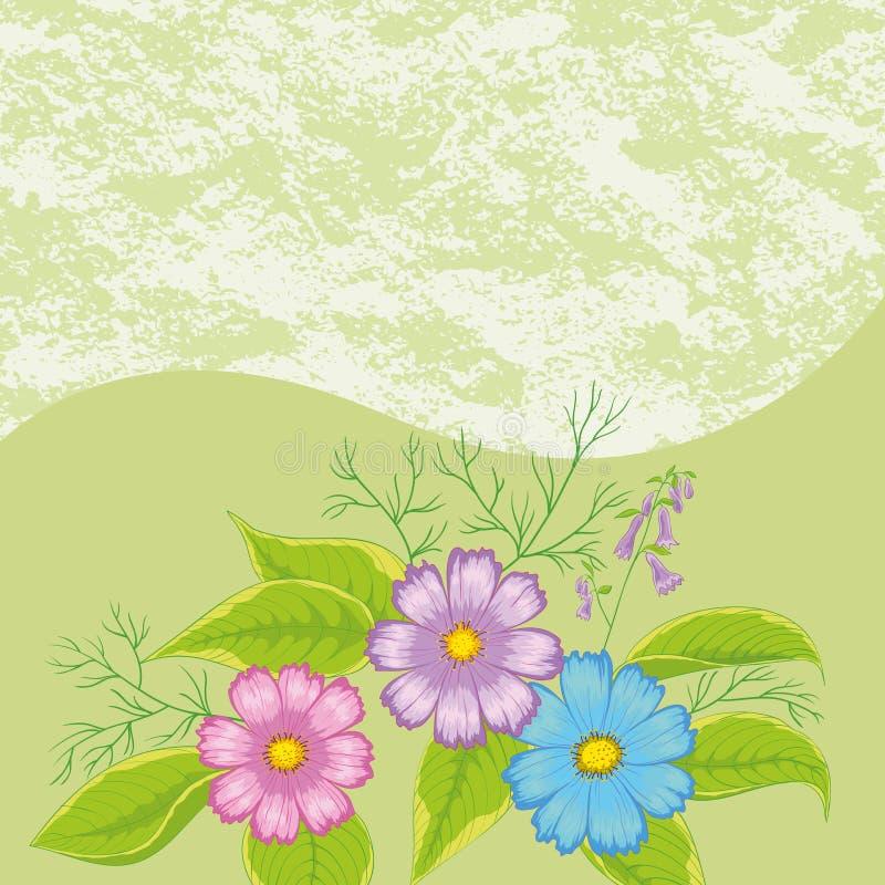 Fondo floreale, universo dei fiori illustrazione vettoriale