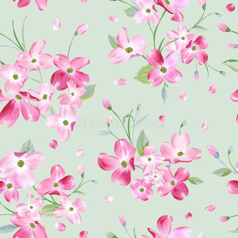 Fondo floreciente del modelo de flores de la primavera Impresión inconsútil de la moda ilustración del vector