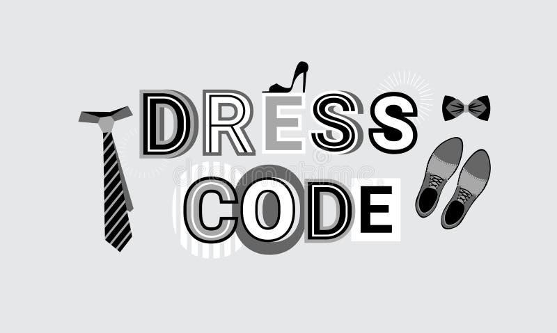 Fondo formal de la plantilla del extracto de la bandera del web de la muestra del código de vestimenta stock de ilustración