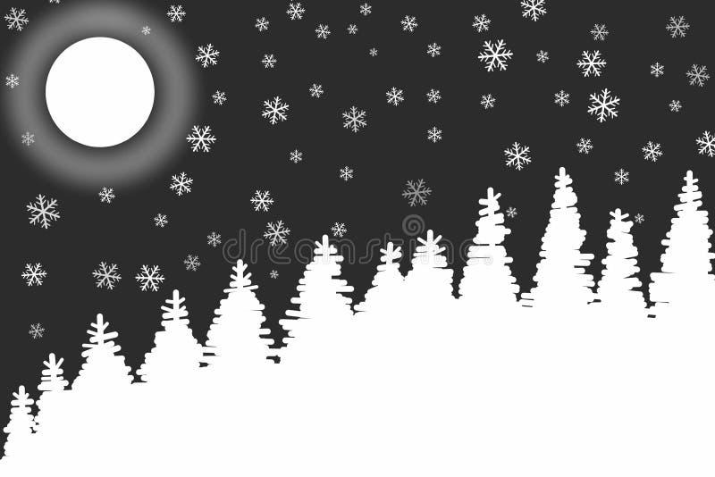 Fondo frío del blanco del negro de la noche del invierno ilustración del vector