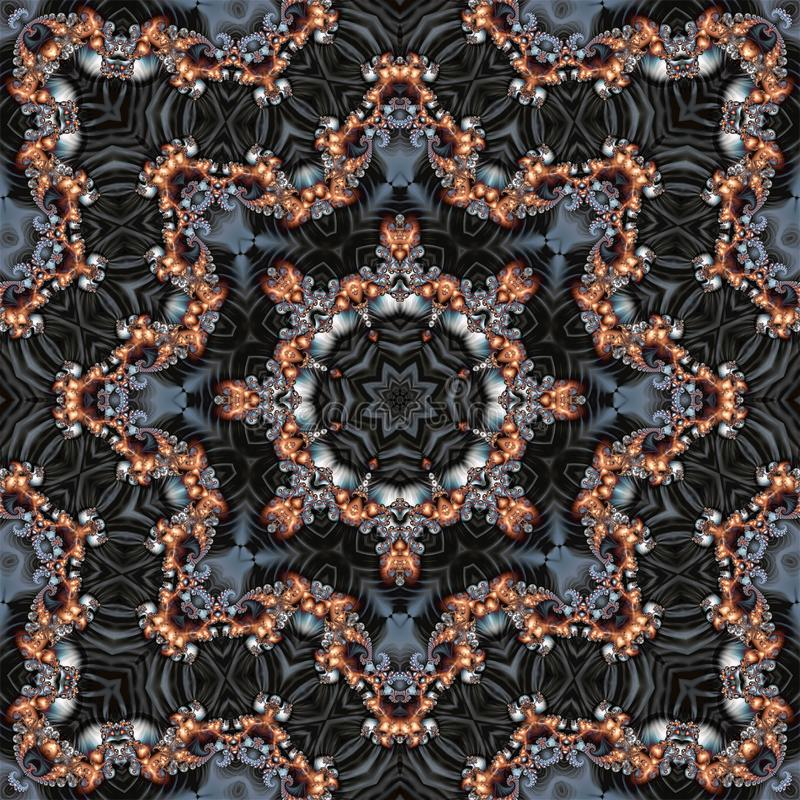Fondo fractal abstracto consistente en un ornamento circular fractal dorado foto de archivo libre de regalías