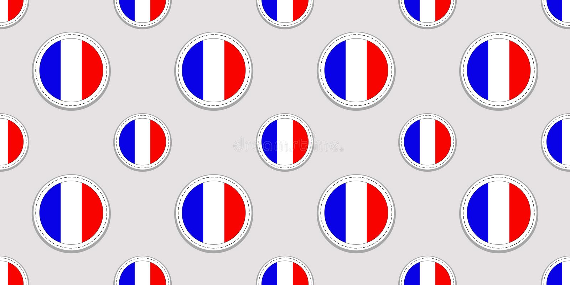 Fondo francés Modelo inconsútil de la bandera de Francia Iconos redondos del vector Símbolos geométricos del círculo Textura para libre illustration