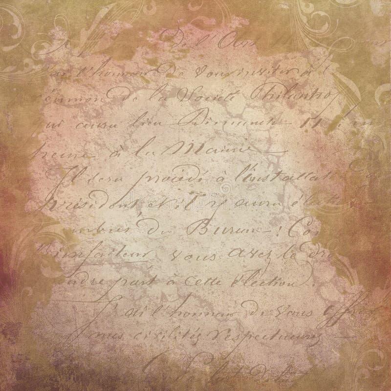 Fondo francese d'annata astratto dello scritto - carta afflitta 12x12 - Autumn Color Palette illustrazione di stock