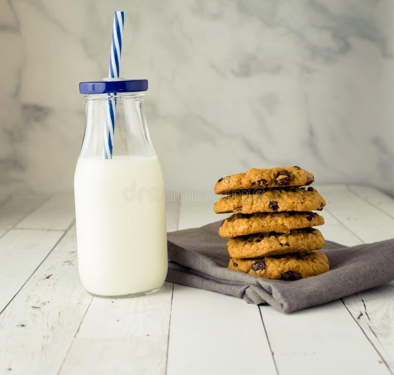 Fondo freddo dei biscotti di uva passa della farina d'avena e del latte immagini stock libere da diritti
