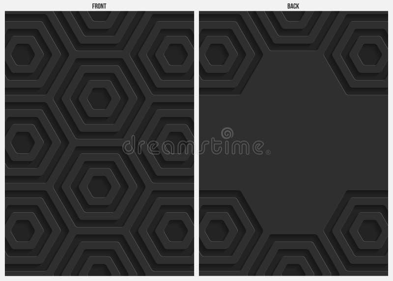 Fondo, frente y parte posterior negros del extracto del papel del hexágono stock de ilustración
