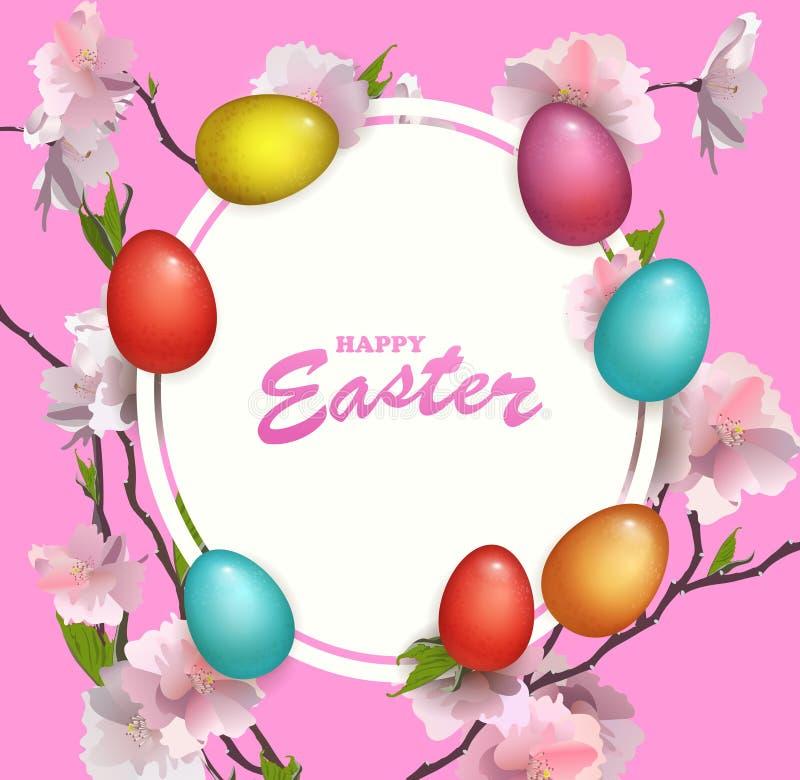 Fondo fresco de Beautyful del día de fiesta feliz de Pascua con el huevo y la flor coloreados de Sakura Diseño de la primavera pa ilustración del vector