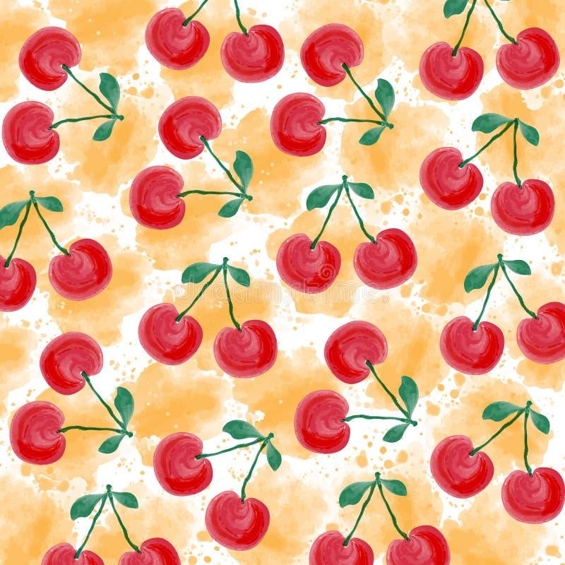 Fondo fresco del verano de la acuarela con las cerezas libre illustration