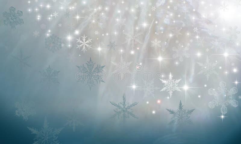Fondo frizzante della perla con i fiocchi di neve sul blu illustrazione vettoriale