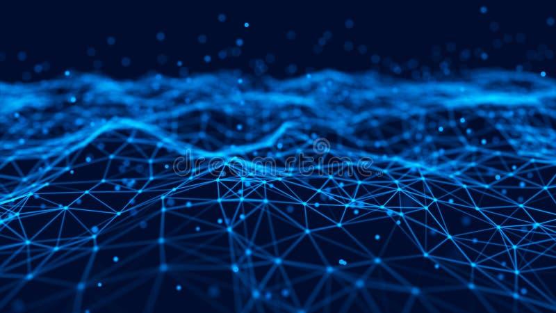 Fondo futurista abstracto Agite con los puntos y las l?neas de conexi?n en fondo oscuro representaci?n 3d ilustración del vector