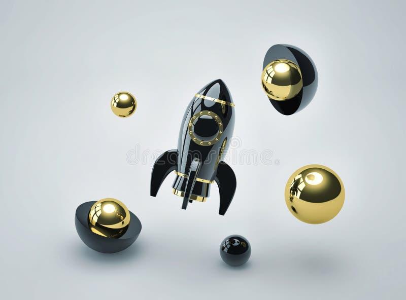 Fondo futurista abstracto con el cohete negro del metal y las esferas brillantes stock de ilustración