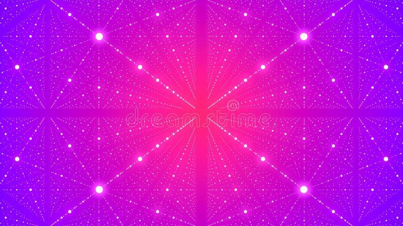Fondo futurista abstracto con la ilusi?n del infinito con muchos puntos representaci?n 3d stock de ilustración