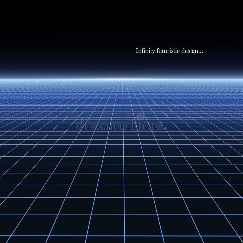 Fondo futurista abstracto con la perspectiva - estilo retro de los a?os 80 Textura de ne?n de la rejilla brillante Dise?o 80-90s  ilustración del vector