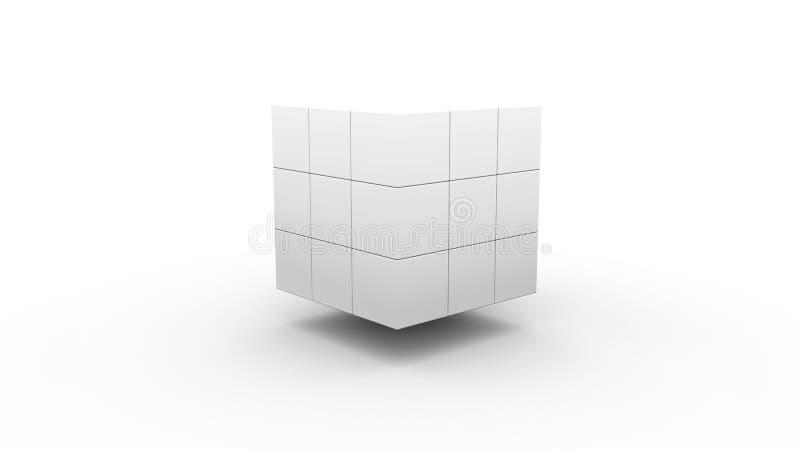 Fondo futurista abstracto con un cubo en un fondo blanco stock de ilustración