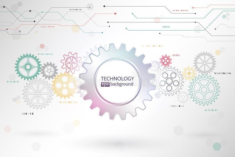 Fondo futurista abstracto de la rueda de engranajes y de los elementos de circuito stock de ilustración
