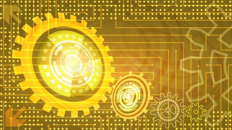 Fondo futurista abstracto de la tecnología con los engranajes stock de ilustración