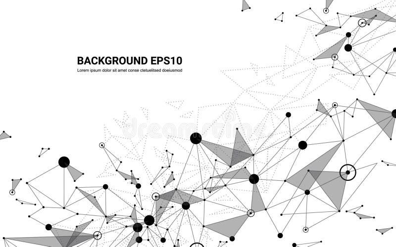 Fondo futurista abstracto del blanco de la línea y del polígono de la molécula Concepto de la tecnología digital de la conexión d stock de ilustración