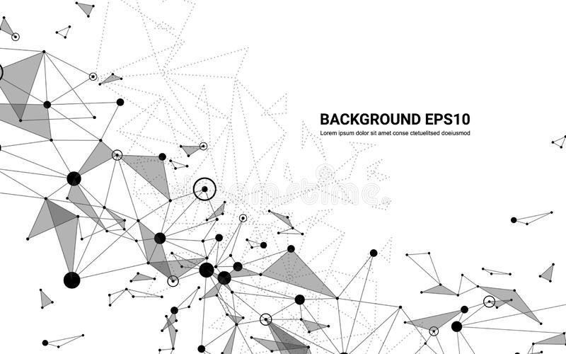 Fondo futurista abstracto del blanco de la línea y del polígono de la molécula Concepto de la tecnología digital de la conexión d ilustración del vector