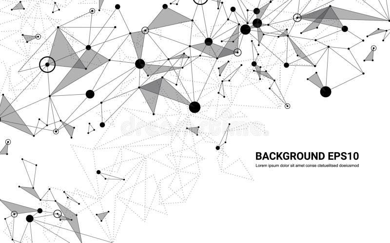 Fondo futurista abstracto del blanco de la línea y del polígono de la molécula Concepto de la tecnología digital de la conexión d libre illustration