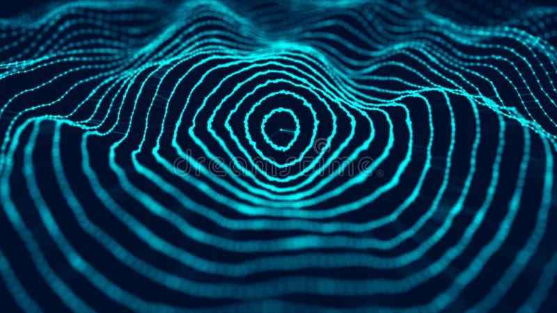 Fondo futurista abstracto Visualizaci?n grande de los datos Fondo abstracto con una onda din?mica representaci?n 3d stock de ilustración