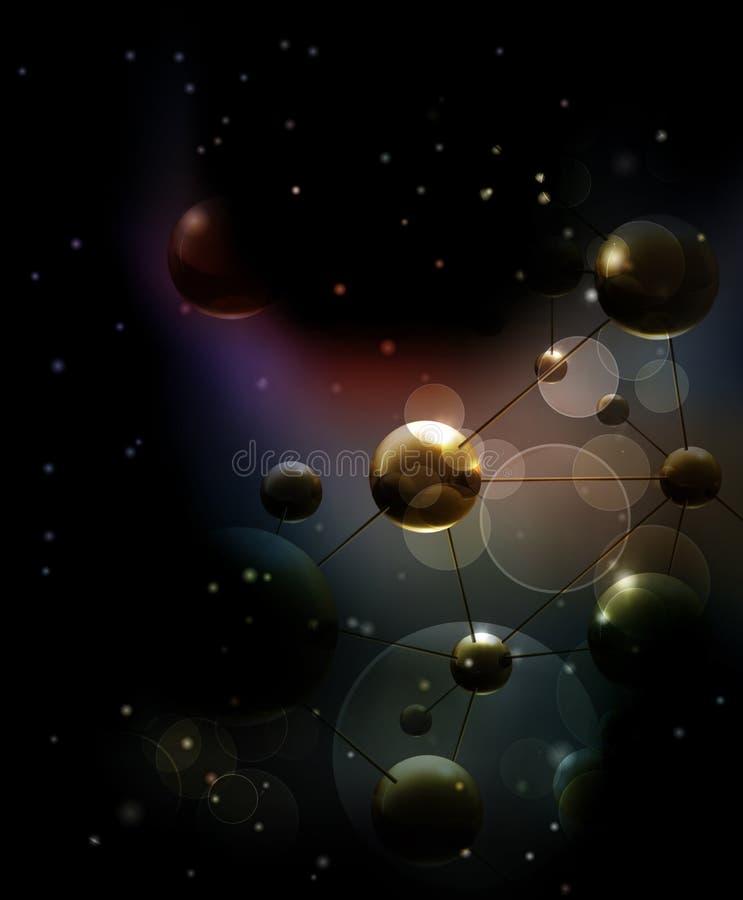 Fondo futurista con negro de las moléculas stock de ilustración