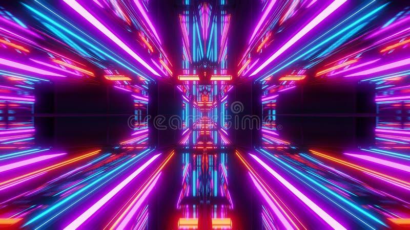 Fondo futurista 3d del túnel del scifi rendir stock de ilustración