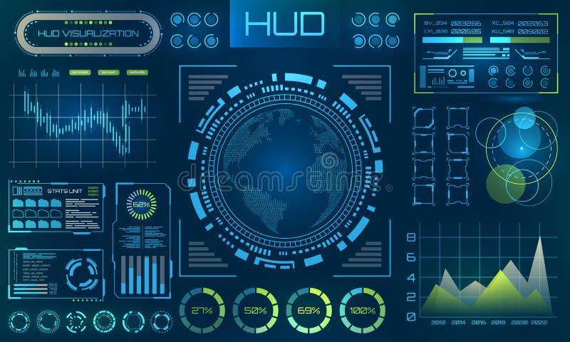 Fondo futurista de HUD Infographic o interfaz de la tecnología para la visualización de la información ilustración del vector
