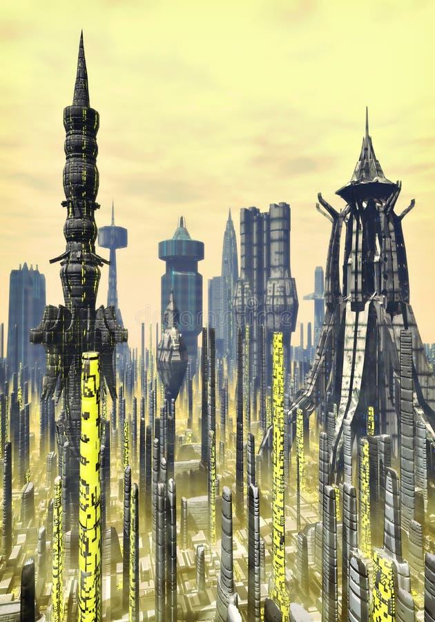 Fondo futurista de la ciudad stock de ilustración