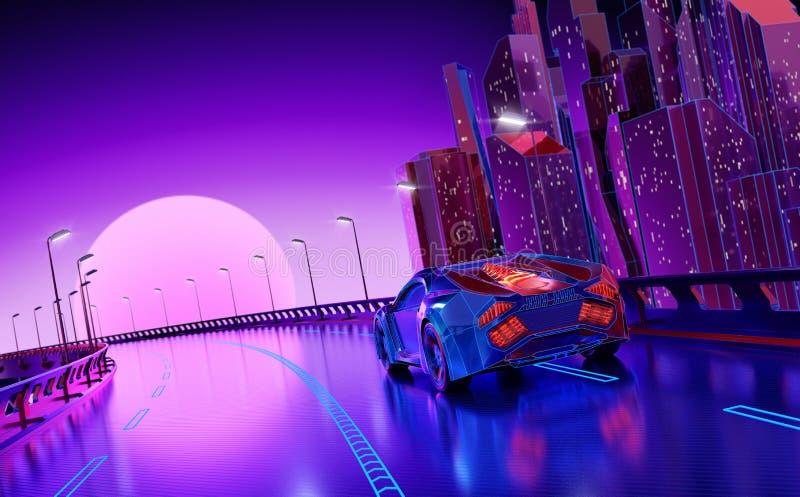Fondo futurista de la ciudad de la noche stock de ilustración