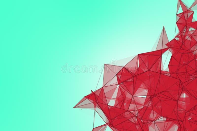 Fondo futurista de la turquesa de la tecnología Fantasía futurista de la granada del triángulo rosado del plexo representación 3d ilustración del vector