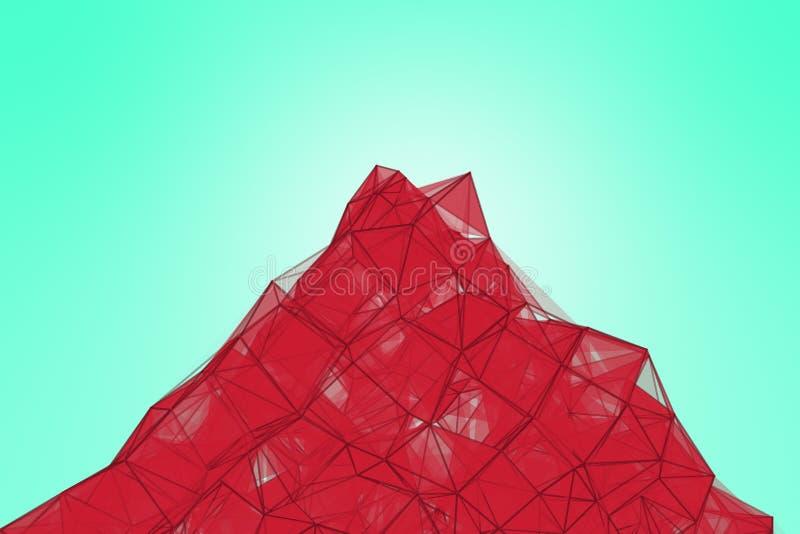 Fondo futurista de la turquesa de la tecnología Fantasía futurista de la granada del triángulo rosado del plexo representación 3d foto de archivo libre de regalías