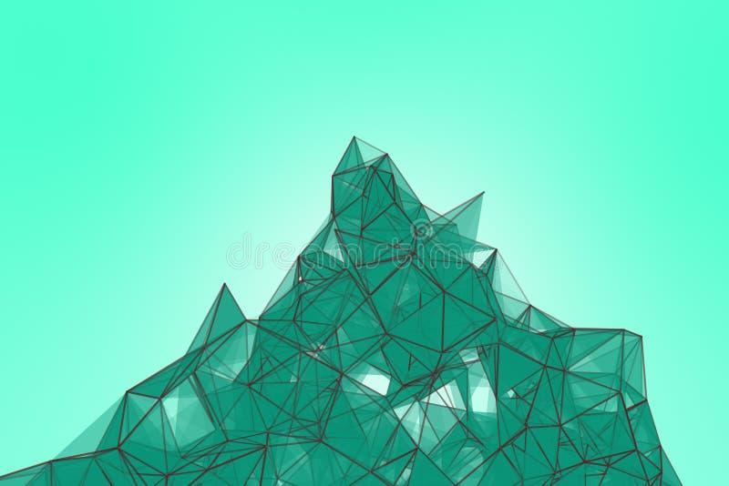Fondo futurista de la turquesa de la tecnología Fantasía futurista del triángulo del plexo de la menta representación 3d foto de archivo