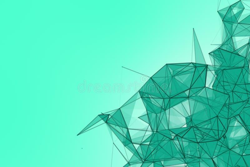 Fondo futurista de la turquesa de la tecnología Fantasía futurista del triángulo del plexo de la menta representación 3d foto de archivo libre de regalías