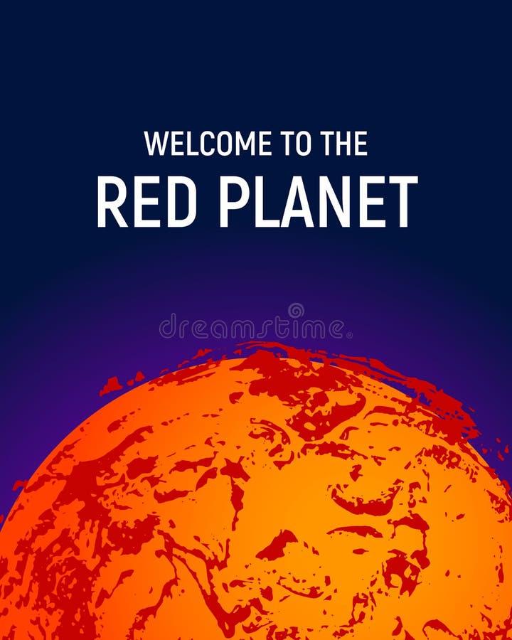 Fondo futurista del cartel del planeta del espacio - planeta rojo Marte stock de ilustración