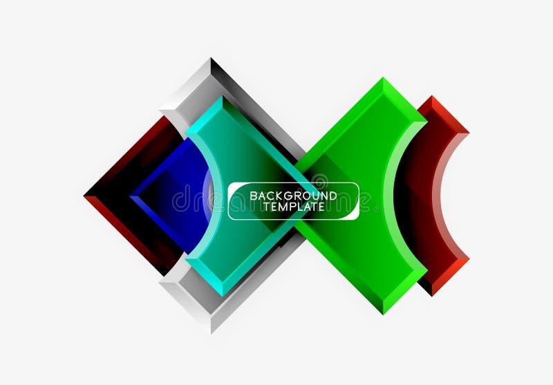 fondo futurista del extracto del vector de las formas 3d hecho de pedazos brillantes con efectos luminosos fotografía de archivo