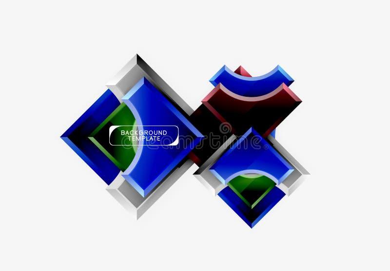 fondo futurista del extracto del vector de las formas 3d hecho de pedazos brillantes con efectos luminosos foto de archivo