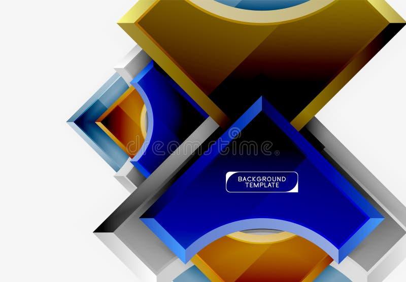 fondo futurista del extracto del vector de las formas 3d hecho de pedazos brillantes con efectos luminosos fotografía de archivo libre de regalías