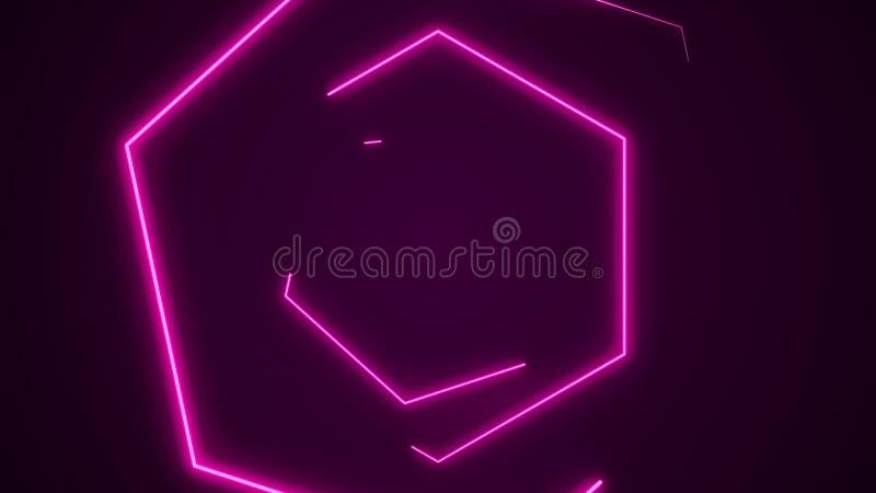 Fondo futurista del túnel VJ del hexágono de HUD gráficos de neón del movimiento 4K para el LED stock de ilustración
