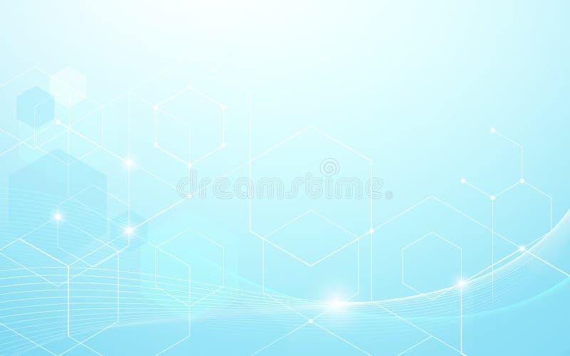 Fondo futurista ondulado azul abstracto del concepto de la tecnología de las líneas y de los hexágonos ilustración del vector