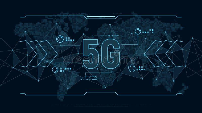 Fondo futurista para la tecnología 5G con la estructura y el mapa del mundo de la conexión de los polígonos en pixeles Concepto d ilustración del vector
