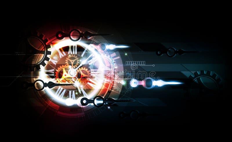 Fondo futuristico astratto blu rosso di tecnologia con il concetto dell'orologio e la macchina del tempo, illustrazione di vettor illustrazione vettoriale