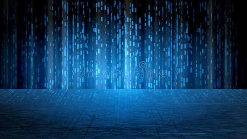 Fondo futuristico astratto di fantascienza Le barre blu d'ardore di rettangolo sopra riflettono il pavimento metallico Per i prod immagini stock libere da diritti