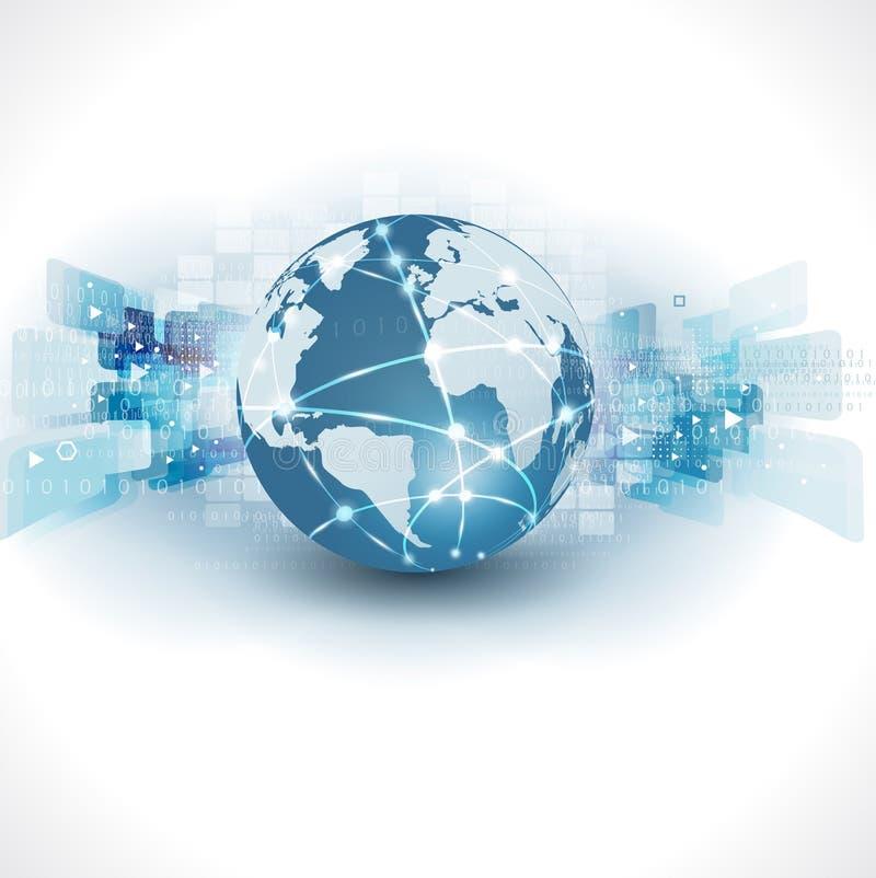 Fondo futuristico astratto e spazio di affari di tecnologia & del mondo per testo, illustrazione royalty illustrazione gratis