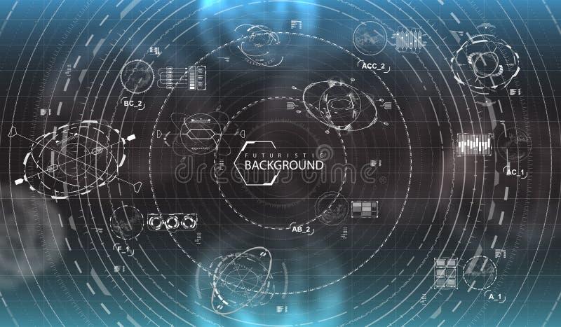 Fondo futuristico in bianco e nero illustrazione vettoriale